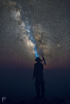 Mining the Sky - A Perseid meteor is seen in this image along with a worker in Mt Athos at an altitude of 2033m.