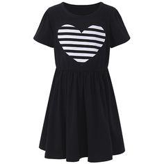 Sale 26% (17.99$) - Sweet Kid Girls Love Heart Printed Long Sleeve Striped Dress