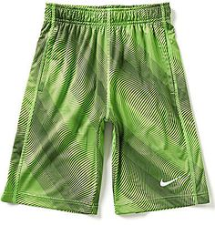 From Nike, these shorts feature: allover print pull-on styling comfortable elastic waistband with a draw cord for an adjustable fit Swoosh design trademark on one leg Dri-FIT polyester interlock and warped-knit mesh machine wash Imported.