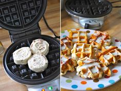Cinnamon rolls in waffle iron