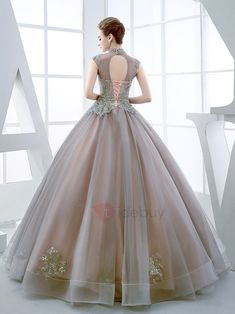 Vintage High Neck Ball Gown Cap Sleeves Appliques Beading Floor-Length Quinceanera Dress : Tidebuy.com