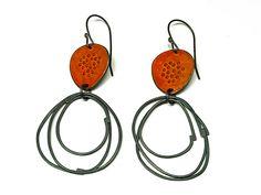 \'Flotsam\' Earrings with Loop, burnt orange