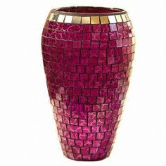 mosaic accessories - Pink vase with gold trim. Mosaic Planters, Mosaic Vase, Mosaic Garden, Mosaic Crafts, Mosaic Projects, Pottery Painting Designs, Pottery Designs, Art Deco Home, Bottle Painting