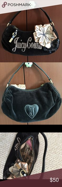 Juicy couture handbag Black velour and leather stitched flower Juicy couture handbag. Missing a gem on zipper holder, not noticeable and looks like it was never there! Bird by Juicy Couture Bags