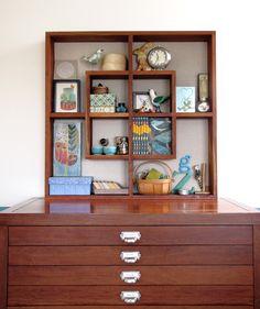 Blue-print flat drawers ... square shelves