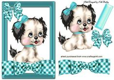 CUTIE PUPPY ON TURQ GINHAM BOW, Makes a cute card, lots of other cute designs to see, and colours