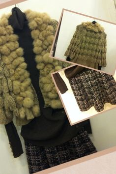 2012 F/W Jessica's proposal Exit 11: A knitted honey comb with rabbit tromming short jacket; coordinated with brown melange pullover and tweed balloon mini skirt : sooooo cute^^.