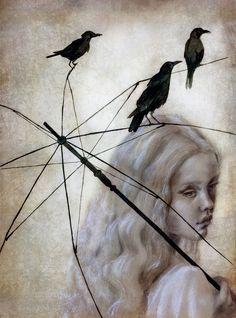 Umbrella by Beatriz Martin Vidal Umbrella Art, Crows Ravens, Spanish Painters, House Drawing, Japanese Artists, Portrait Art, Illustration Art, Drawings, Artwork