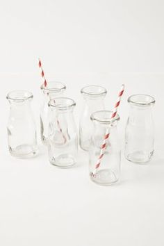 Anthropologie Glass Milk Bottles