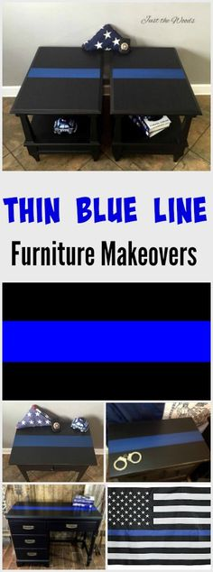 Thin Blue Line Furniture Makeovers. Painted Desk and tables with the thin blue line supporting our law enforcement family