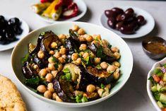 Marokkansk aubergine og kikertsalat