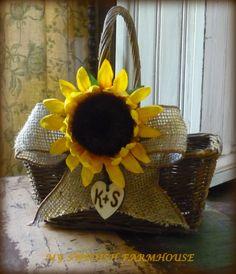 burlap flower girl basket   Flower Girl Basket with Burlap Bow Rustic Wedding Personalized Custom ...