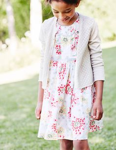 Charming Cardigan and The Floral Dress in Multi Vintage Floral | Mini Boden