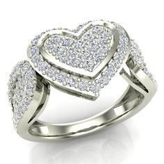 Portray your love and dedication to her with this Diamond Heart Promise Ring.