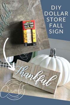 """DIY Dollar Store Fall Sign - How to make a simple farmhouse style fall """"Thankful"""" sign with a few Dollar Tree supplies tree fall decor diy Fall Dollar Tree Crafts 2019 Dollar Tree Fall, Dollar Tree Decor, Dollar Tree Crafts, Dollar Tree Finds, Diy Kit, Fall Signs, Fall Diy, Dollar Stores, Dollar Store Gifts"""
