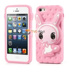 Pink Lovely Rabbit Silicone Cover for iPhone 5