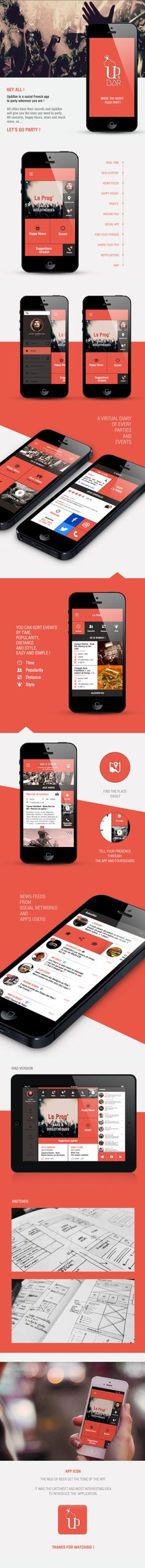 Up&Bar is a Social French App to party by Noriane Rozales, via Behance *** #app #gui #ui #behance