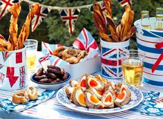 Mini Scotch Eggs A lovely Jubilee street party scene. We can't wait to set our table out in the bright red, white and blue theme. How will you decorate yours…. British Themed Parties, Royal Tea Parties, British Party, British Summer, 1940s Party, Vintage Party, Scotch Eggs Recipe, Cheese Straws, Tea Party Wedding