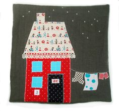 Applique House Pillows - Starry night ... love the clothesline