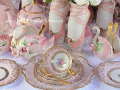 Pink Tea Sets with Ballet Slipper & Swan Vases for a princess ballerina theme tea party, dessert table or birthday party.