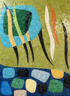 FROM KARL BENJAMIN by Larissa Strauss, Glass mosaic, 48 x 36, 2012, Commissioned.