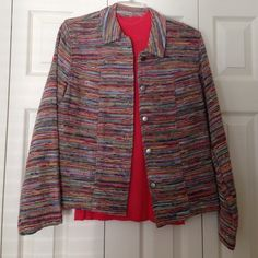 NWT Coldwater Creek jacket and shell set NWT Coldwater Creek striped jacket and coral mock neck cap sleeve set. Misses size Medium (10-12) Coldwater Creek Jackets & Coats