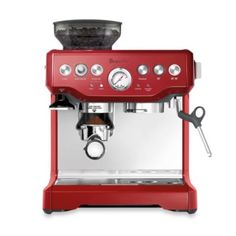 Breville The Barista Express Coffee Machine, Cranberry Red 15 Bar Italian Pump Building supplies:Brushed Stainless Metal Exterior.Purge Perform: Mechanically adjusts water temperature after steam for optimum espresso extraction temperature Cappuccino Maker, Cappuccino Machine, Cappuccino Coffee, Espresso Maker, Coffee Coffee, Black Coffee, Coffee Beans, Commercial Coffee Makers, Iced Coffee