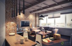 Небольшая квартира в стиле Лофт | Студия дизайна интерьера «Spline»