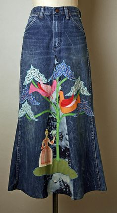 """Cotton skirt made of converted blue jeans and applique, by Serendipity 3, American, mid-1960s. Labels: """"Serendipity"""" """"Wrangler"""""""