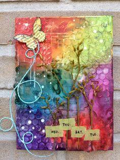 Summer Breeze.texture paste canvas - art journal inspiration