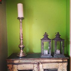 Silver glass candlestick and glass and metal lanterns