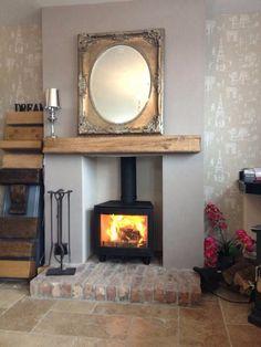 I like the brick hearth - resuse cellar bricks? Wood Burner Fireplace, Inglenook Fireplace, Fireplace Design, Fireplaces, Fireplace Ideas, Cosy Fireplace, Fireplace Suites, Snug Room, Freestanding Fireplace