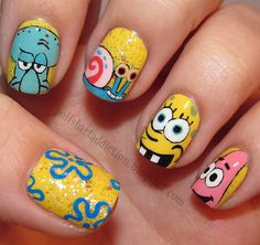 Amazing Spongebob Nail Art via Polish Art Addiction Love Nails, How To Do Nails, Fun Nails, Pretty Nails, Swag Nails, Disney Nails, Creative Nails, Cool Nail Art, Nails Inspiration
