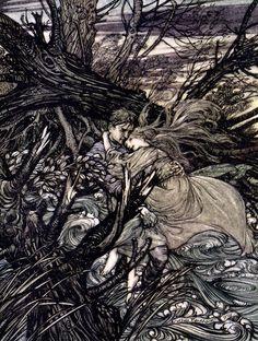Undine is a fairy-tale novella; an early German romance, written in 1811 by Friedrich de la Motte Fouqué .  Arthur Rackham illustrator 1909 version