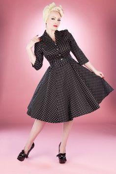 4001 Black White Small Dot Dress F 700x1000
