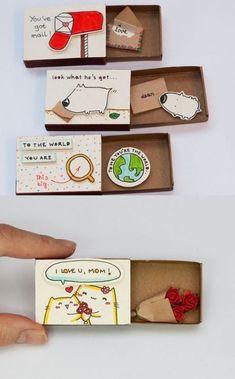 gift idea made of matches' box – Geschenkideen – Manualidades Fun Crafts, Diy And Crafts, Crafts For Kids, Paper Crafts, Tarjetas Diy, Matchbox Crafts, Birthday Box, Diy Birthday Cards, Handmade Birthday Gifts