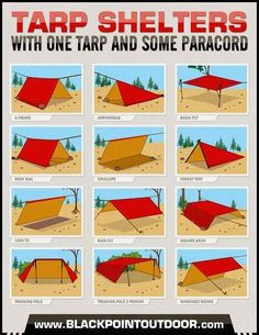 Tarp Shelters Infographic #HowTo make #shelter from a tarp and paracord. #survival #camping #backpacking