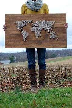 World map string art DIY