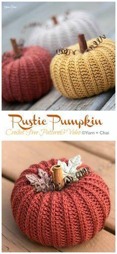 Rustic Pumpkin Crochet Free Patterns - Crochet & Knitting - - Rustic Pumpkin Crochet Free Pattern & Video - Last-Minute Projects Free Patterns. Crochet Pattern Free, Crochet Pumpkin Pattern, Crochet Gratis, Free Pumpkin Patterns, Easy Patterns, Shawl Patterns, Stitch Patterns, Crochet Simple, Crochet Fall