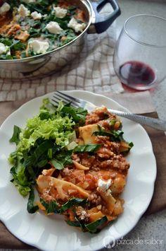 Lasaña al sartén (sin horno y lista en 25 minutos) | http://www.pizcadesabor.com