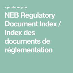 NEB Regulatory Document Index / Index des documents de réglementation