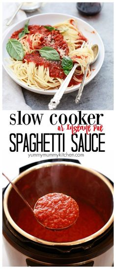 Crockpot spaghetti sauce made from scratch! This delicious slow cooker or instant pot marinara is so delicious and easy! It& loaded with veggies and not added sugar or oil. Spaghetti Sauce From Scratch, Slow Cooker Spaghetti Sauce, Homemade Spaghetti Sauce, Slow Cooker Pasta, Slow Cooker Recipes, Crockpot Recipes, Healthy Recipes, Veggie Spaghetti Sauce, Italian Spaghetti Sauce