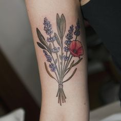 A poppy with lavender and sage by Pam at White Tiger. When her books are open again this fall, I'm gonna be in line for something like this. Gorgeous.