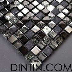 Natural stone glass mixed mosaic tile$18.50