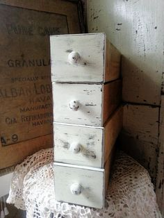 Distressed White Vintage Sewing Drawers