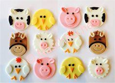 Muffins & Cupcakes - Bauernhof Cupcake Topper Aufleger Tortendeko SET - ein Designerstück von Naschkueche bei DaWanda