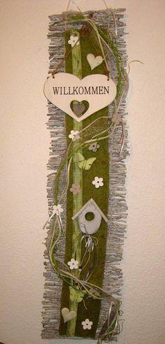 Türkranz Kranz Frühling Türschmuck Filz Willkommen Rebenmatte Türdeko Herz grün in Möbel & Wohnen, Dekoration, Außen- & Türdekoration | eBay