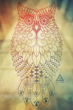 Tribal owl on small scale
