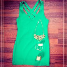 Our Back Talk Dress in Emerald is perfect with our Coral Necklace & other gold accessories! Great for weddings, showers, date night, or girls night out! This dress can't lose! Southernswankboutique.com #instafashion #instastyle #coral #wiw #ootd #datenight