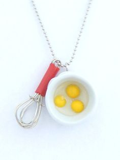 """Ha ha! The Bakers Necklace """" Let's Make Cupcakes"""" Miniature whisk charm and White Ceramic Mixing Bowl with Eggs great gift for bakers"""